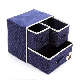 Hộp vải đựng đồ lót tất 2 tầng 3 ngăn kéo (xanh)