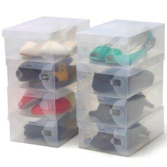 Bộ 10 hộp đựng giày dép Huy Linh Shoe Box (trong suốt)