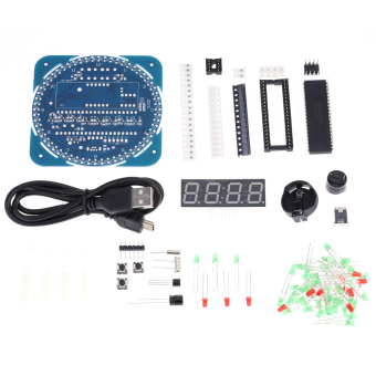 Compact 4-digit DIY DS1302 Digital Rotation LED Electronic Clock Kit Learning Board Temperature Date Time Display - intl