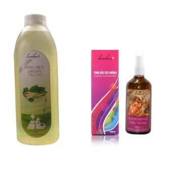 Bộ 1 Dung dịch lau sàn sả chanh LAMHA 1000ml và 1 tinh dầu xịt phòng trầm hương LAMHA 100ml