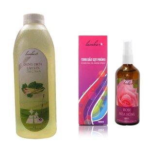 Bộ 1 Dung dịch lau sàn sả chanh LAMHA 1000ml và 1 tinh dầu xịt phòng hoa hồng LAMHA 100ml