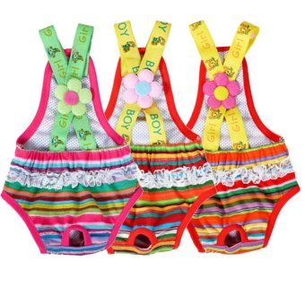 Female Striped Suspender Sanitary Panty Diaper - Intl