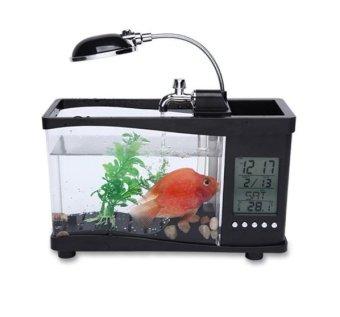 Bể cá mini có hệ thống lọc nước, đèn phát sáng kèm đồng hồ chạy bằng pin và USB