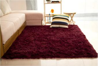 Shaggy Anti-skid Carpets Rugs Floor Mat/Cover 80x120cm Claret Wine Red (Intl)