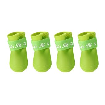 M Code Fashion Cute Rain Boots Rain Boots Slip Pet Dog Shoes (Green) (Intl)