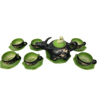Ấm chén trà con trâu Bát tràng NNGS 189 (Xanh đen)