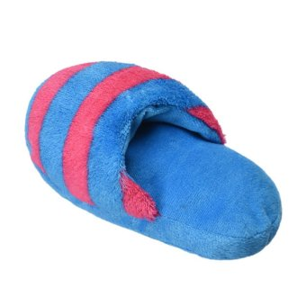 Dog Toy Pet Puppy Chew Squeaky Squeaker Sound Plush Slipper Shape (Blue and Pink)