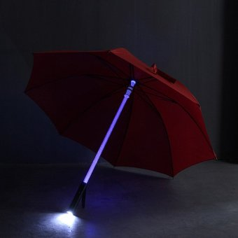 Cool Light Saber LED Steady on/fast Flashing Light Up Umbrella Night Protection Red - Intl