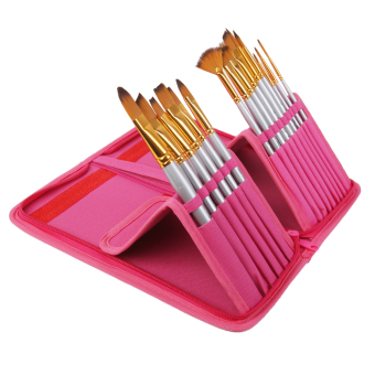BolehDeals 15pcs Pro Artist Painting Nylon Brushes