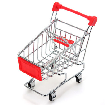 Mini Shopping Cart Desk Organizer Supermarket Phone Toy Pen Holder Basket Gift (Intl)