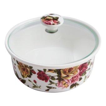 Bộ 1 khay mứt sứ 5 ngăn 28cm trắng phối hoa + 1 đĩa (Thủy tinh)ngọc Gemya MFA H831-M24