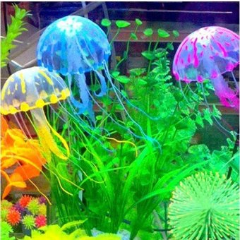 Artificial Jellyfish Decoration Glowing Effect for Aquarium Fish Tank Ornament Pink - Intl
