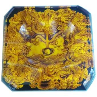 Gạt tàn Cửu long pha lê (Vàng cổ)