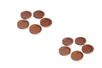 Bộ 10 miếng đế lót ly nhựa tròn Rico (Nâu)