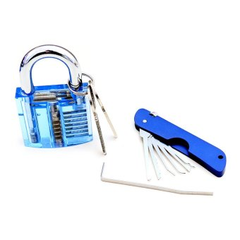 BolehDeals Blue Padlock Lock Set Locksmith Training Tools With Visible Cutaway - Intl