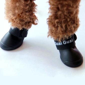 Hot Dog Boot Waterproof Anti-Slip Pet Shoes Boot Dog Puppy(Black) (Intl)