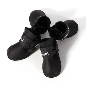 Hot Dog Boot Waterproof Anti-Slip Pet Shoes Boot Dog Puppy(Black) (Intl)