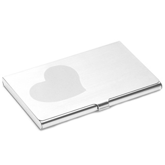 LALANG Card Holder Business Supplies Loving Heart Style (Silver)