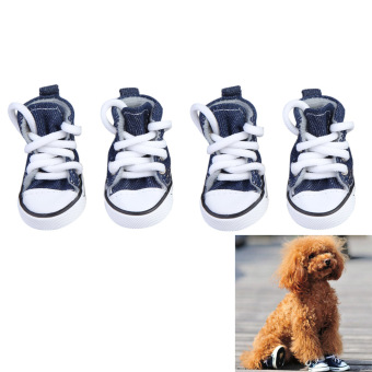 Fashion Pet Dog Puppy Sporty Cloth Canvas Shoes Boots Dark Blue No.5 (Intl)