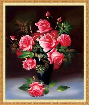 Tranh đính đá 5D - Bình Hồng Đỏ - Tranh Mỹ Thuật Minh Hiền