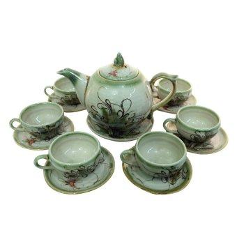 Ấm chén trà dáng tròn họa tiết chuồn chuồn Bát tràng NNGS 202 (Xanh ngọc)