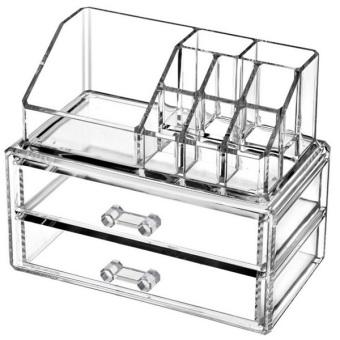 Bộ hộp đựng mỹ phẩm 2 tầng Olivin (Trong suốt)