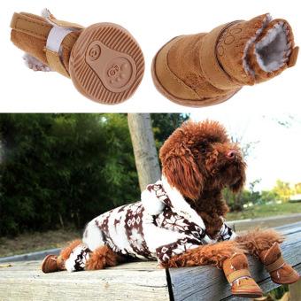 New Fashion Lovely Warm Cotton Dog Pet Shoes Snow Boots Bottes Khaki M (Intl)