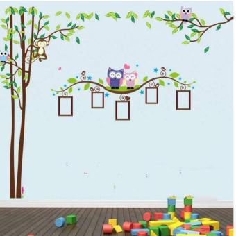 Bộ 2 decal dán tường cành cây khung ảnh cú mèo Binbin EB146