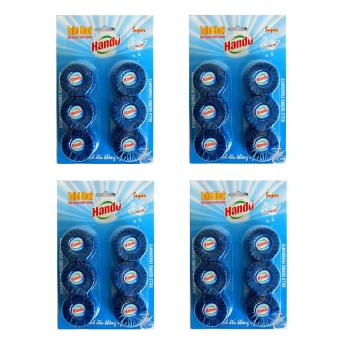 Bộ 4 vỉ viên tẩy và làm thơm Toilet Hando 6 block (Xanh)