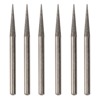 45mm Diamond Coated Point Grinding Burrs Bits 3mm Set of 6 (Silver) - Intl