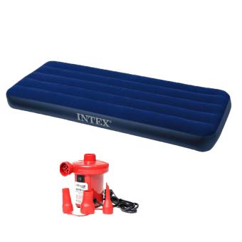Bộ nệm hơi đơn Intex 68950 và bơm điện (Xanh)