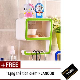 Kệ dán tường nhà tắm Flancoo 2943 (Xanh lá) + Tặng kèm thẻ tích điểm Flancoo