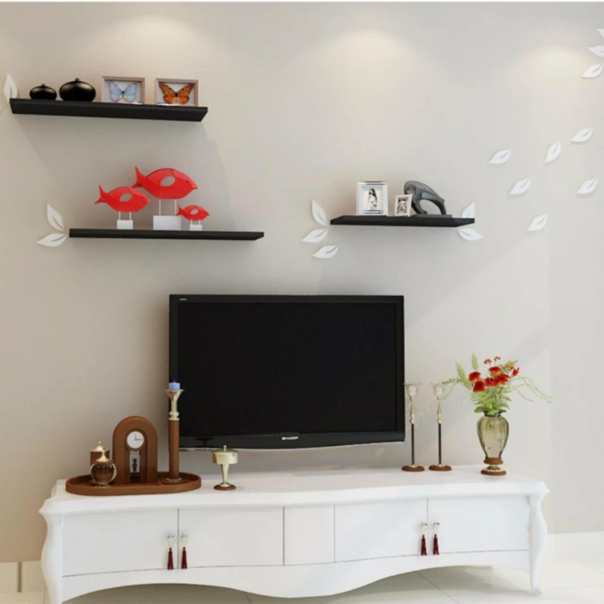 thanh gỗ trang trí Hot Discount Kệ gỗ trang trí Tivi phòng khách bộ 3 thanh dài 60cm  thanh gỗ trang trí