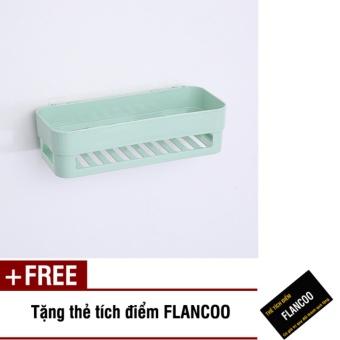 Kệ nhà tắm dán tường chắc chắn S0012 (Xanh ngọc) + Tặng kèm thẻ tích điểm Flancoo