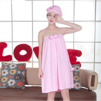 Khăn tắm đa năng có mũ choàng Hàn Quốc (Hồng)