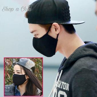 Khẩu trang full đen phong cách Hàn Quốc