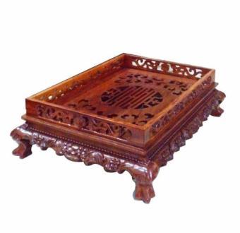 Khay trà gỗ Hương đỏ chạm Rồng chầu cao cấp T09