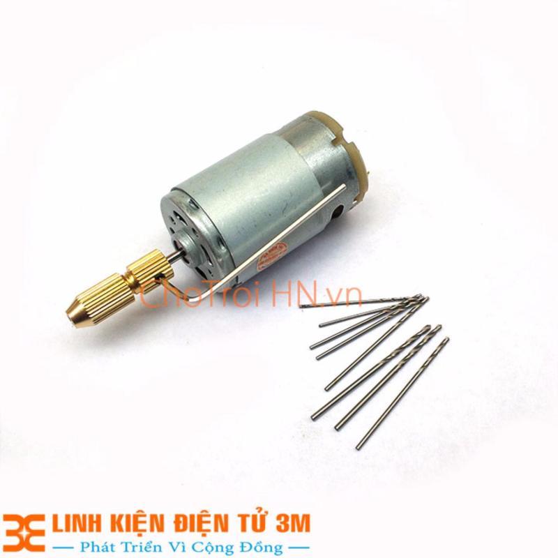 Khoan Mini Siêu Khỏe chế từ Động Cơ 335 và Phụ Kiện V1 ( 01 Đầu Kẹp 2315, Mũi khoan 0.8-1.0-1.2-1.5mm mỗi loại 2 chiếc )
