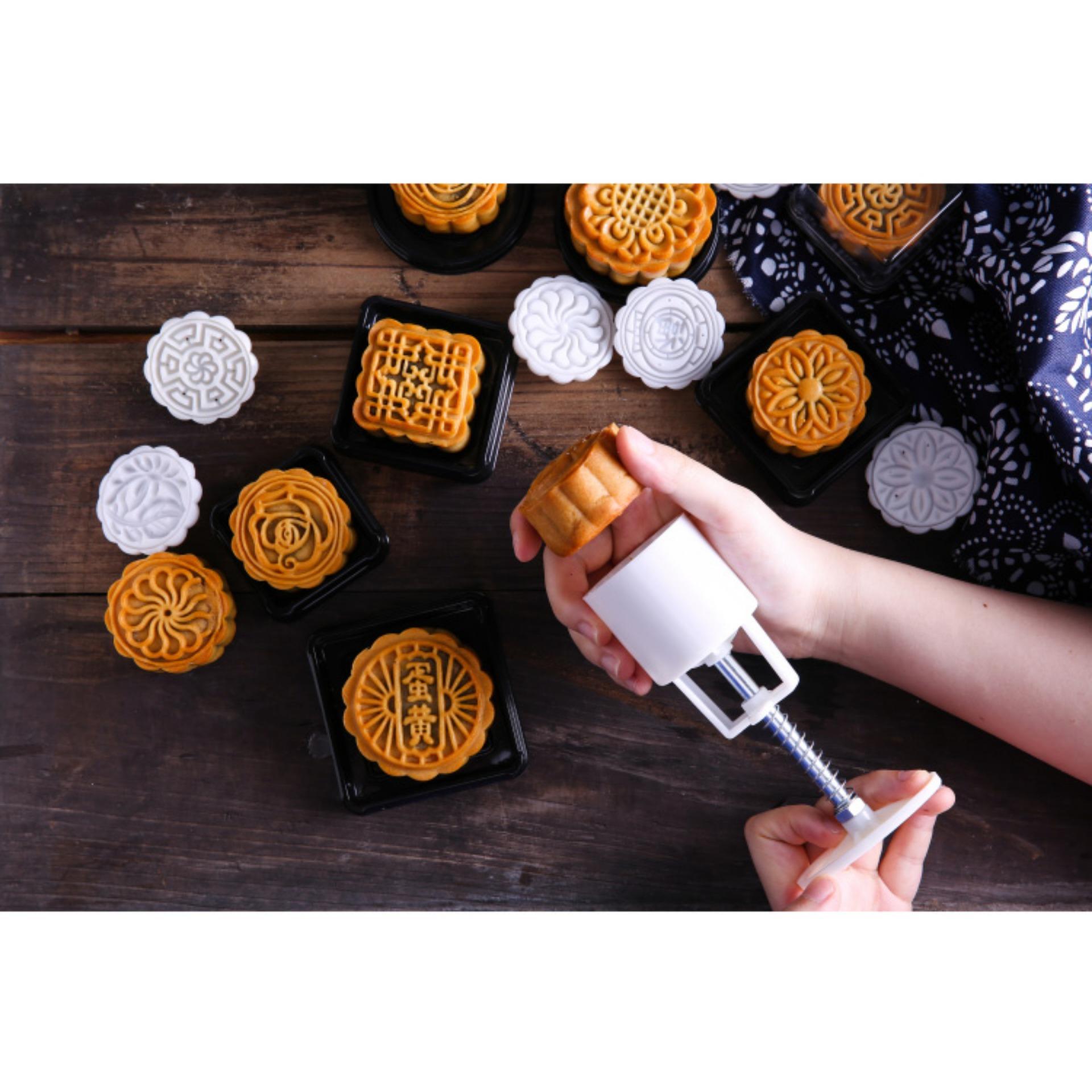 Khuôn làm bánh ngọt/ bánh trung thu hình tròn 6 khuôn