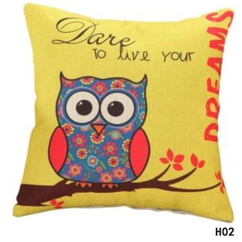 Kuhong Cute Owl Printing Pillowcase Cushion Cover Cotton and LinenPillowcase Sofa Bed Office Decor H02 - intl