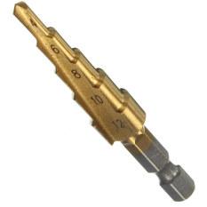 Mũi khoan hình Chóp nón bằng Titanium Lớn Tốc độ cao Bộ mũi khoan cắt Màu Gold 4-20mm
