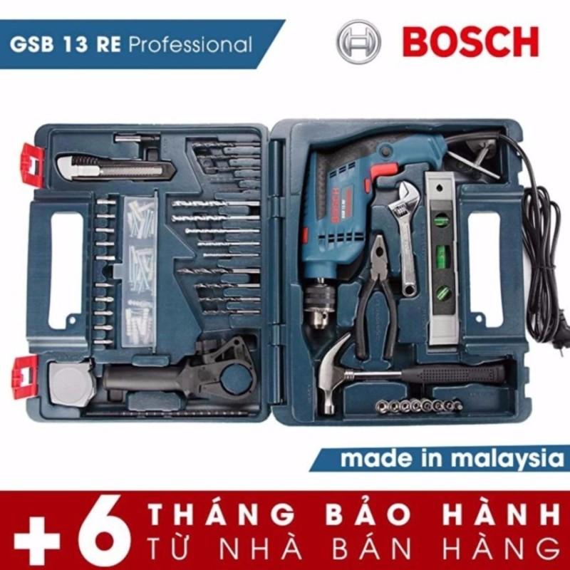 Máy khoan Bosch GSB 13 RE Set (Bộ dụng cụ 100 chi tiết) (Xanh đen) - Hãng phân phối chính thức - 18 tháng bảo hành