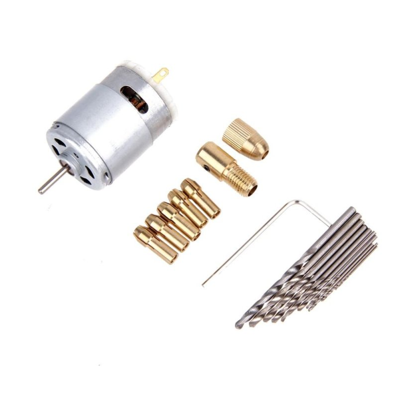 Máy khoan cầm tay điện mini động cơ 12V và dụng cụ khoan xoắn 0.5-3.0mm - intl
