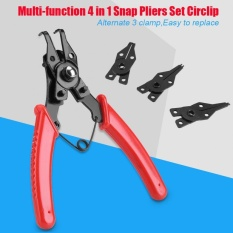Multifunction 4 in 1 Snap Ring Pliers Set Circlip Combination Retaining Clip Hand Tool (Red) - intl