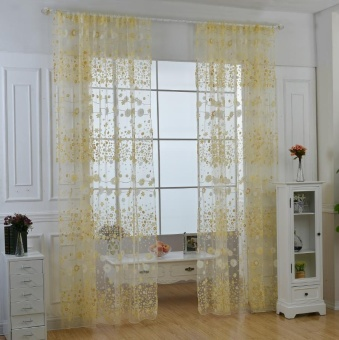 New Fashion Flower Chiffon Curtains for Living Room the Bedroom Sheer Curtains Tulle Window Curtains Fabric Drapes - Yellow - intl