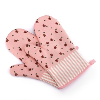 Non-Slip Kitchen Oven Mitts Heat Resistant Cotton Gloves for Cooking Baking Barbecue Potholder Glove with Patterns - intl
