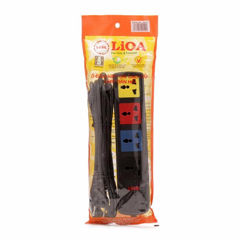 Bảng giá Mua Ổ 4D có nắp che dây 5m x 2 LiOA 4D52N (Đen)