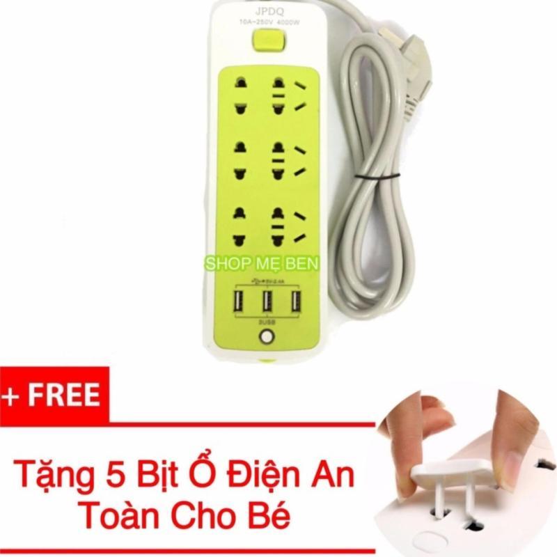 Bảng giá Ổ Cắm 6 phích cắm tích hợp 3 Cổng USB Sạc Điện Thoại + Tặng Kèm 5 Nút Bịt Ổ Điện
