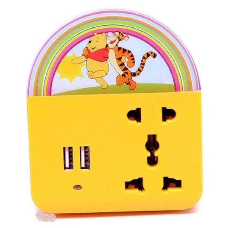 Bảng giá Mua Ổ cắm điện đa năng 3 trong 1 có đế cắm usb tích hợp đèn led chiếu sáng