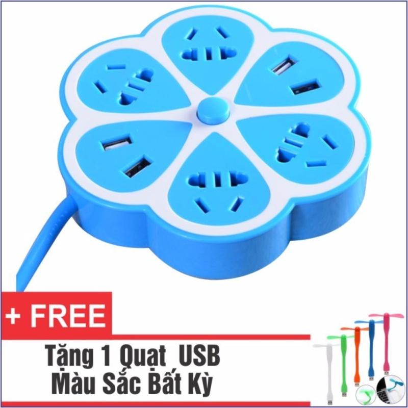 Bảng giá Ổ Cắm Điện Đa Năng Có 4 Cổng USB Bông Hoa + Tặng 1 Quạt USB Tiện Dụng
